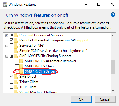 Windows SMB file sharing support