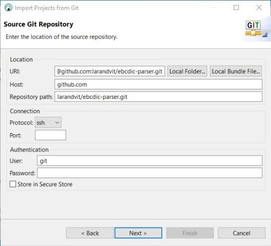 DBeaver Import Wizard Source Git Repository