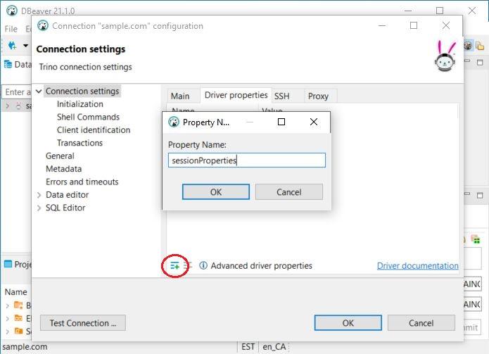 DBeaver add sessionProperties jdbc driver parameter