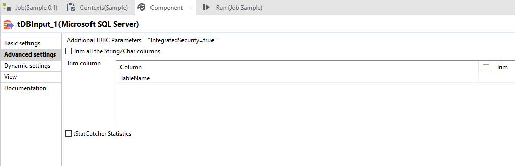 tMSSqlInput Talend component advanced settings