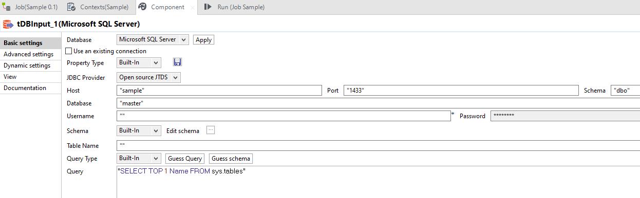 tMSSqlInput Talend component basic settings