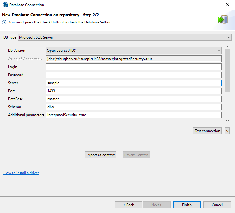 New Talend database connection