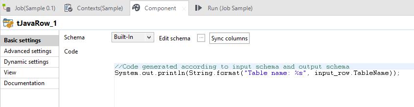 tJavaRow Talend component settings
