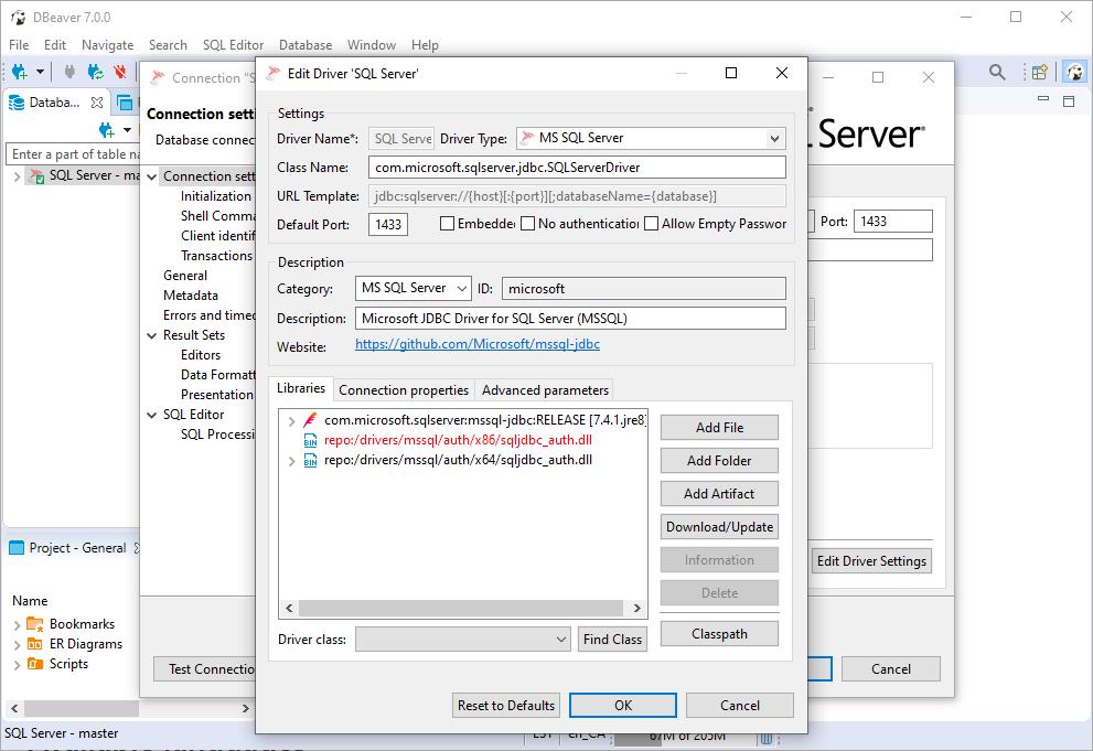 DBeaver Edit MS SQL Server Driver