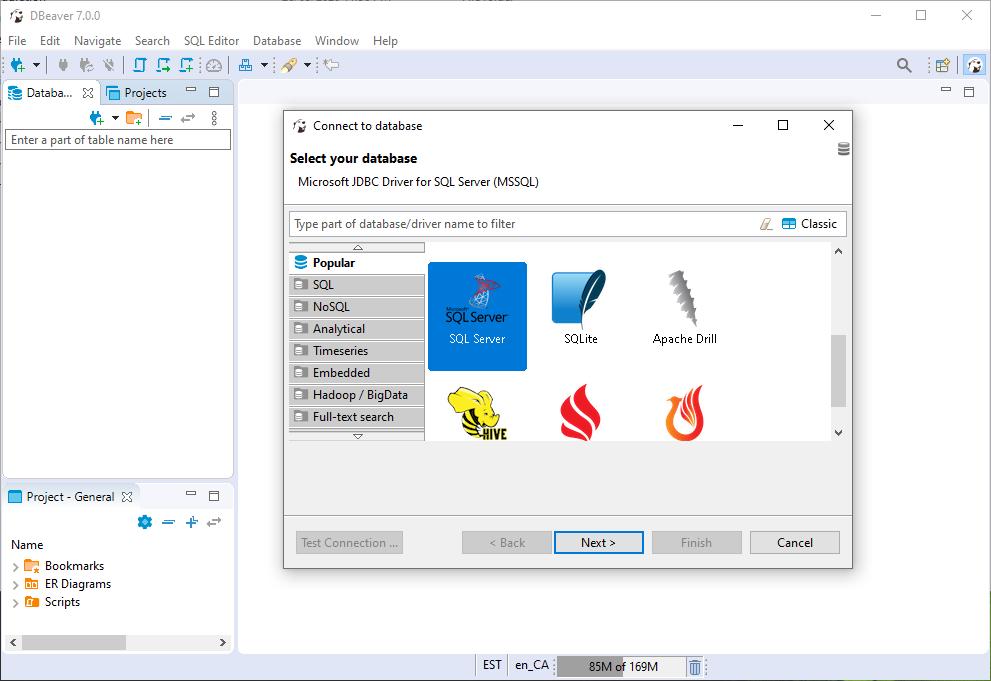 DBeaver Select Database Step