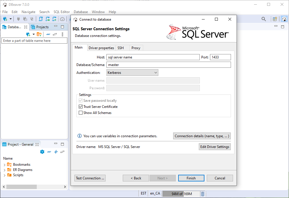 DBeaver MS SQL Server Connection Settings Step