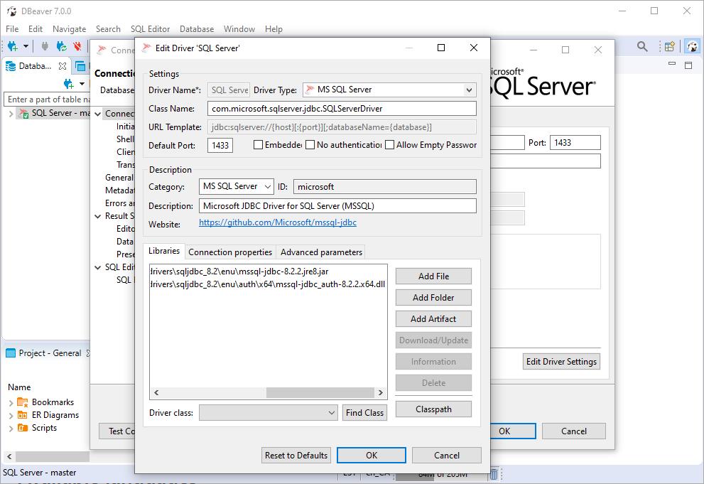DBeaver MS SQL Server Driver Added