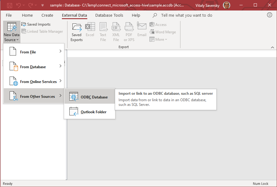 Microsoft Access new data source
