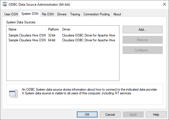 ODBC Data Source Administrator 64-bit
