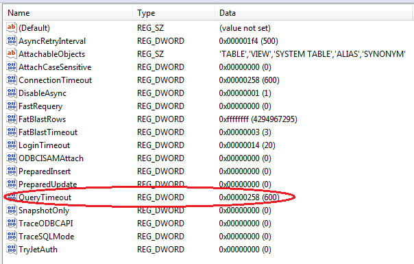 Registry Editor query timeout setting