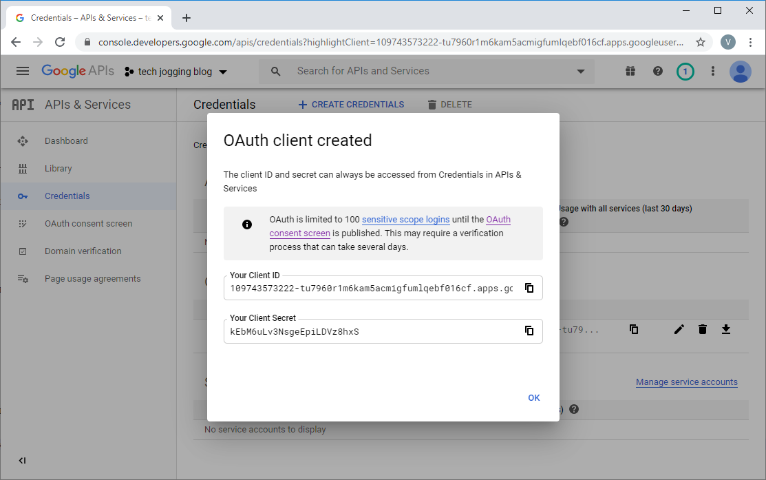 Create Google OAuth Credentials Confirmation Screen