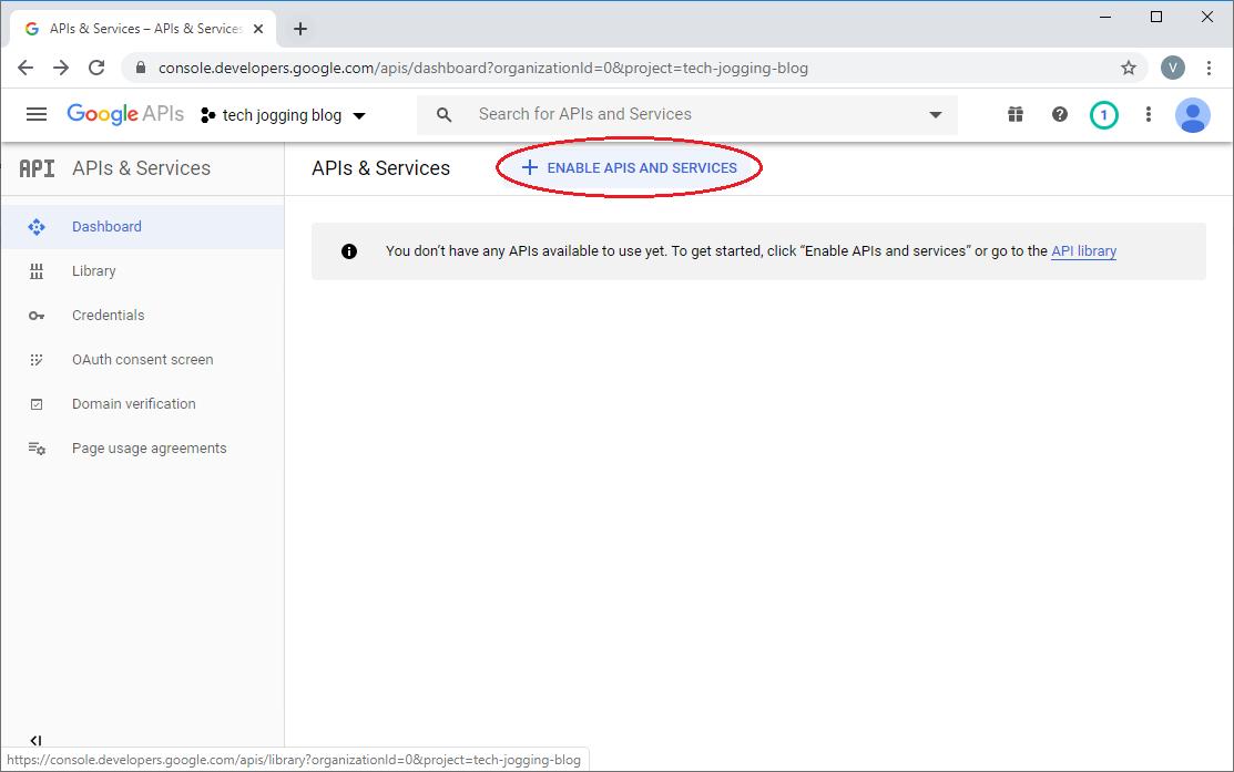 Enable Google Analytics APIs
