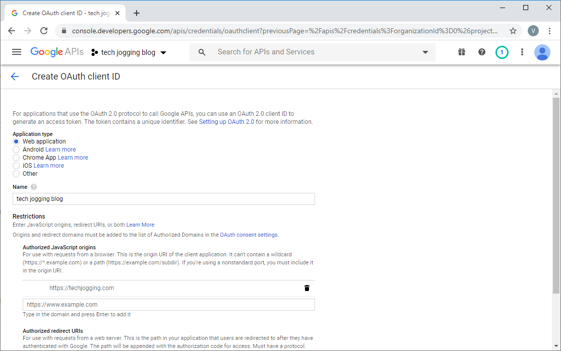 Google OAuth Credentials Form