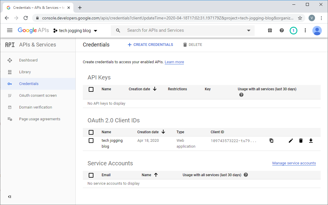 Google Credentials Screen with OAuth Created