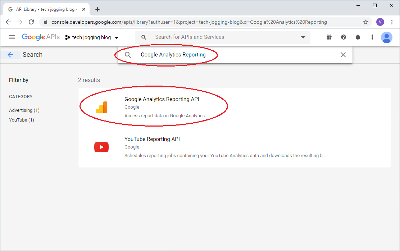 Search Google Analytics APIs
