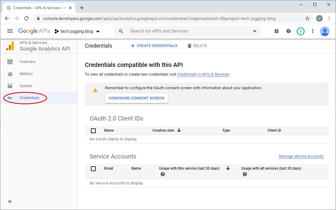 Select Google Credentials Landing Screen