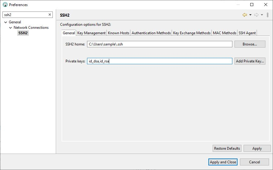 DBeaver SSH2 in Preferences