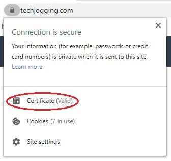 Chrome certificate