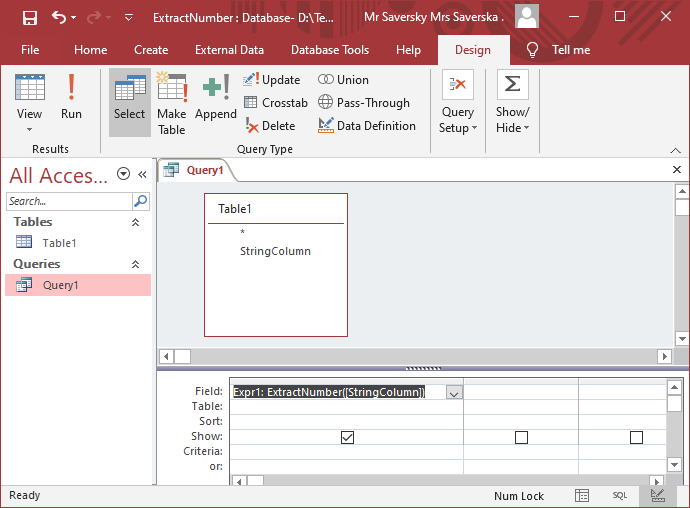 Microsoft Access added function
