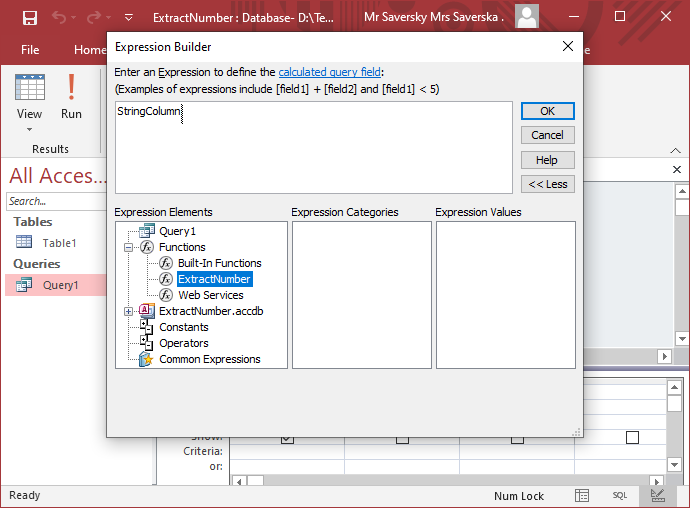 Microsoft Access function in list