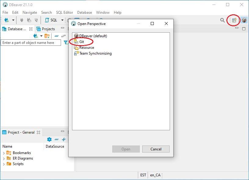 DBeaver Git Extension Update Site URL