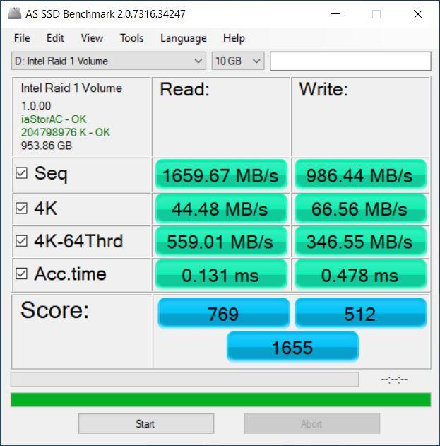 Intel 660P Performance 10GB Data BitLocker Encrypted