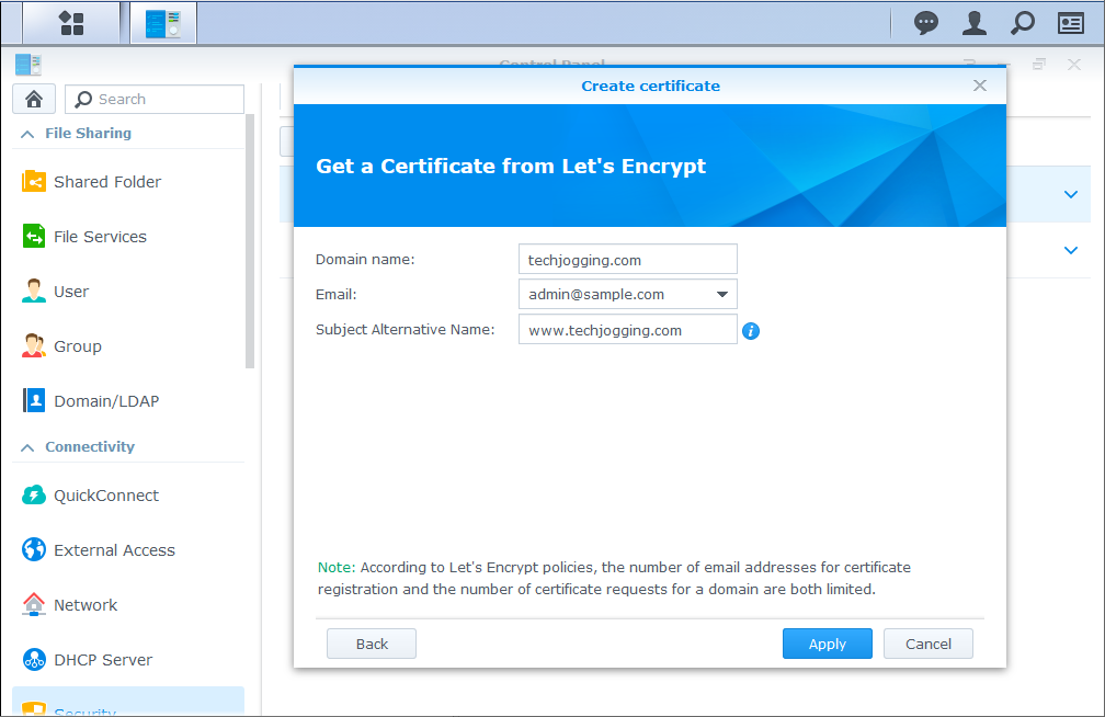Synology DSM Control Panel Create SSL Certificate