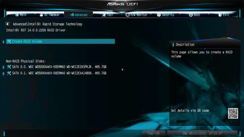 ASRock motherboard create volume