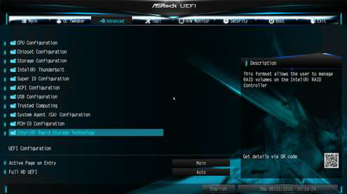 ASRock motherboard Intel Rapid Storage Technology