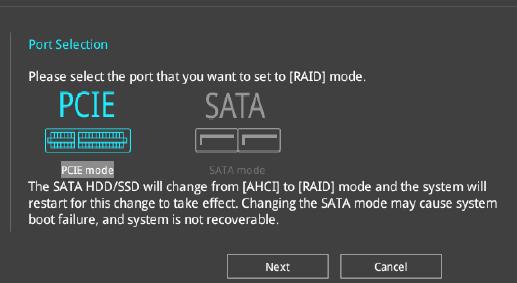 ASUS motherboard PCIE Raid Mode