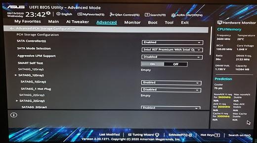ASUS RAID SATA mode