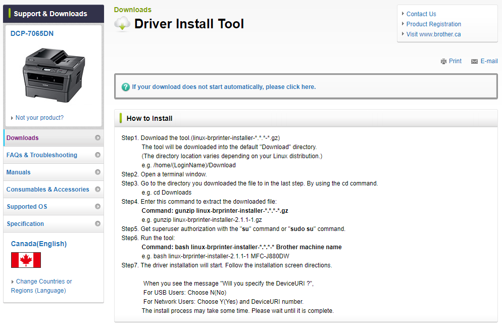 Install DCP-7065DN scanner driver