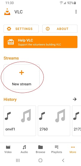 Android 10 VLC Add New stream