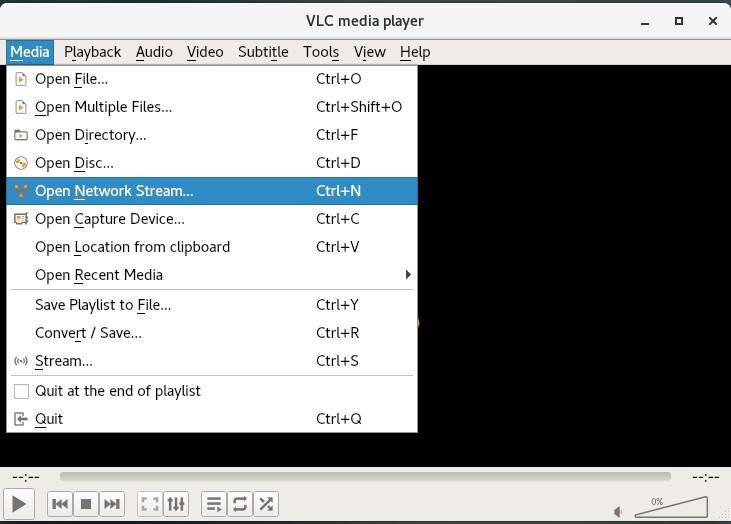 CentOS 7 VLC Open Network Stream